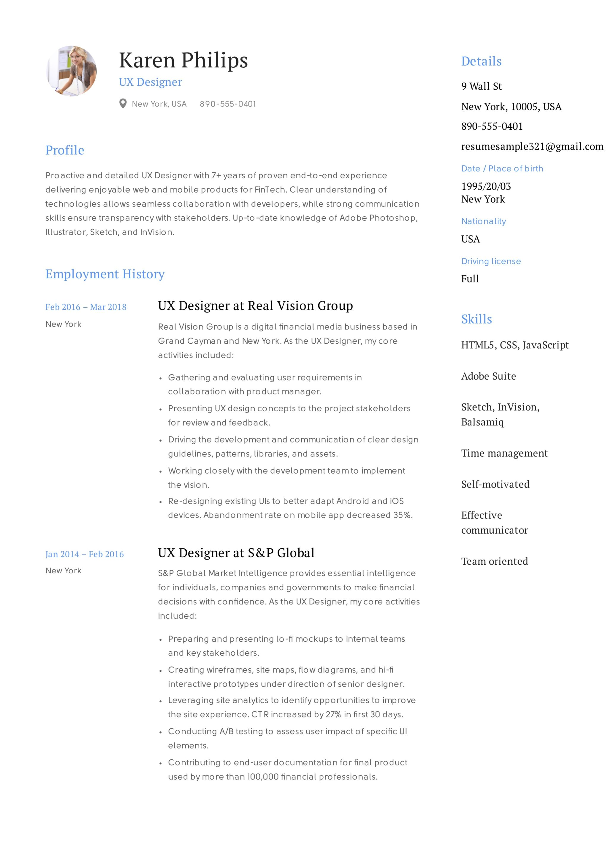 UX Designer Resume Sample - Karen Philips (6)