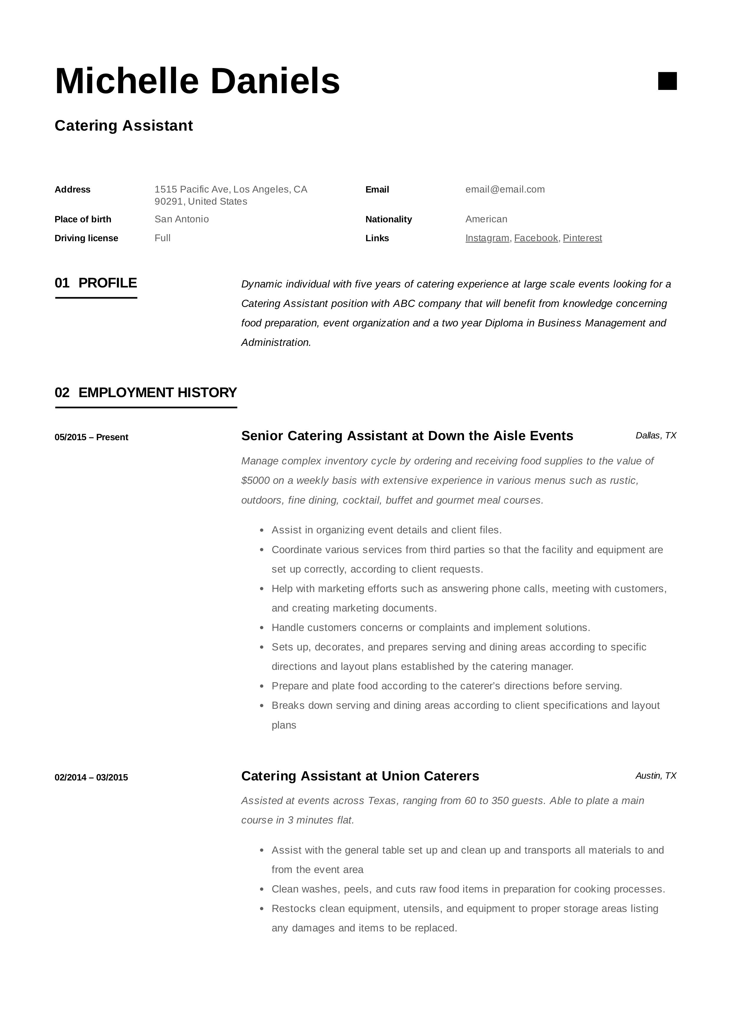 Catering Assistant Resume Caterer (10)