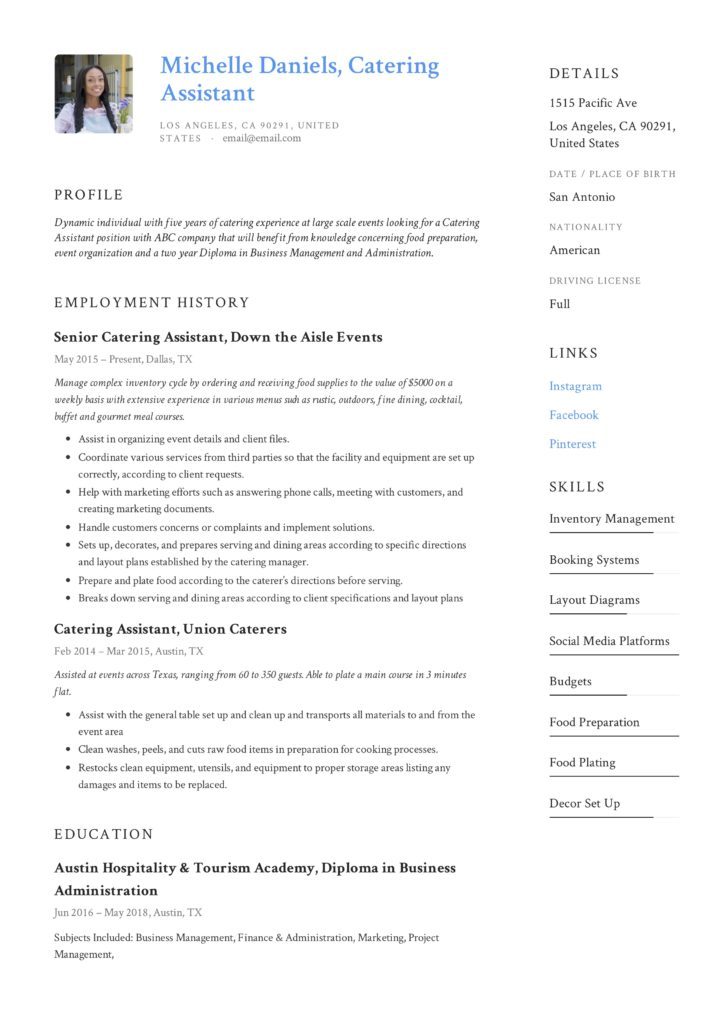Catering Assistant Resume Template