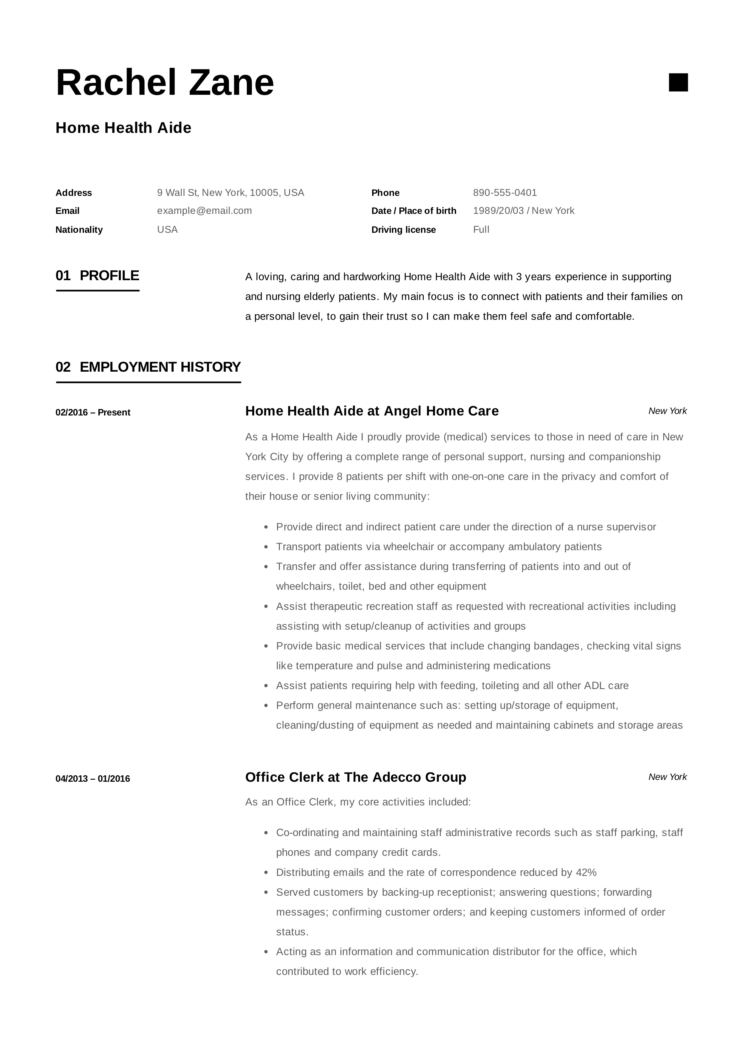 Home Health Aide Resume Sample Writing Guide