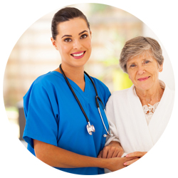 Female Home Health Aide caring for an elder women