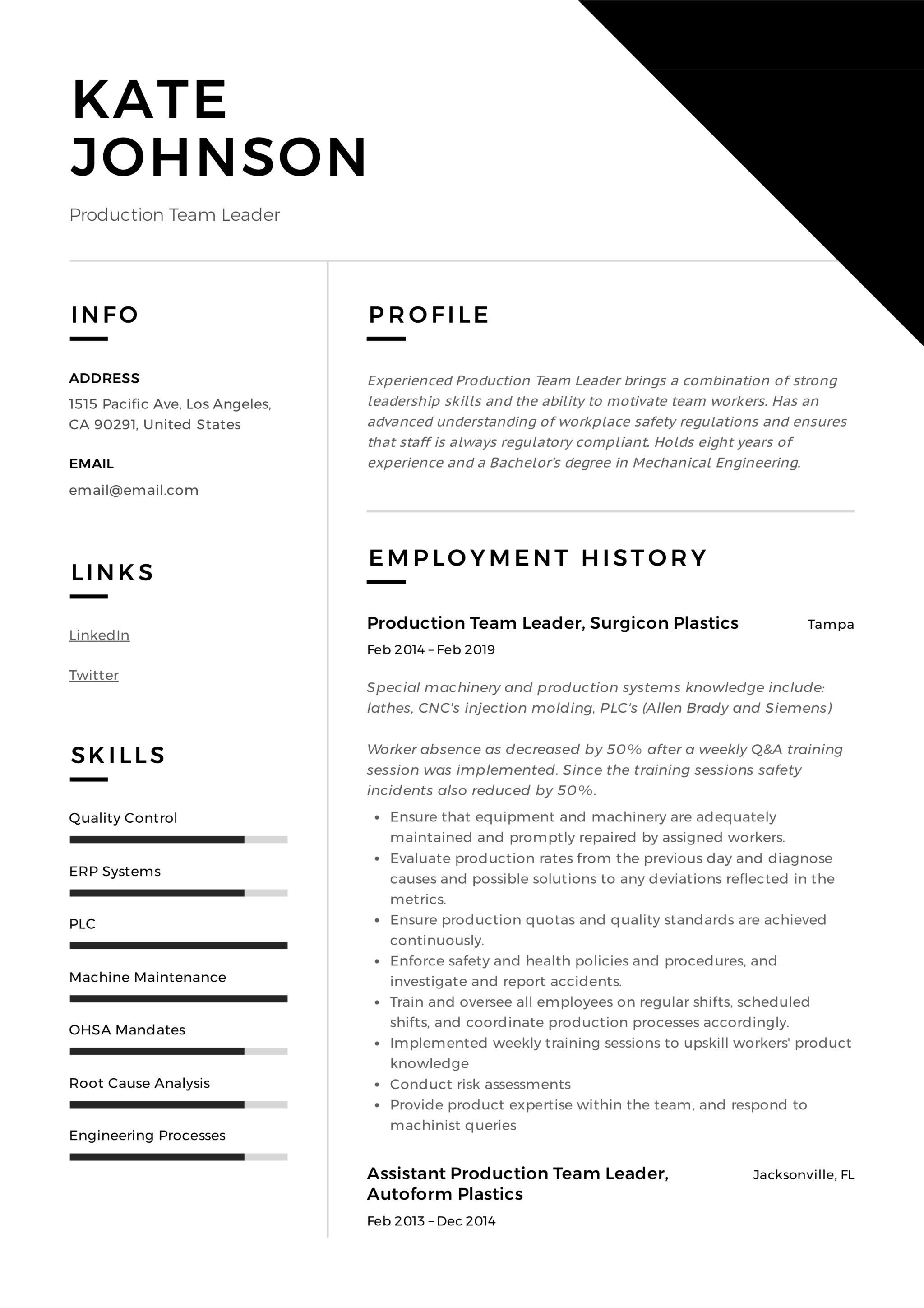 Production Team Leader Resume 11