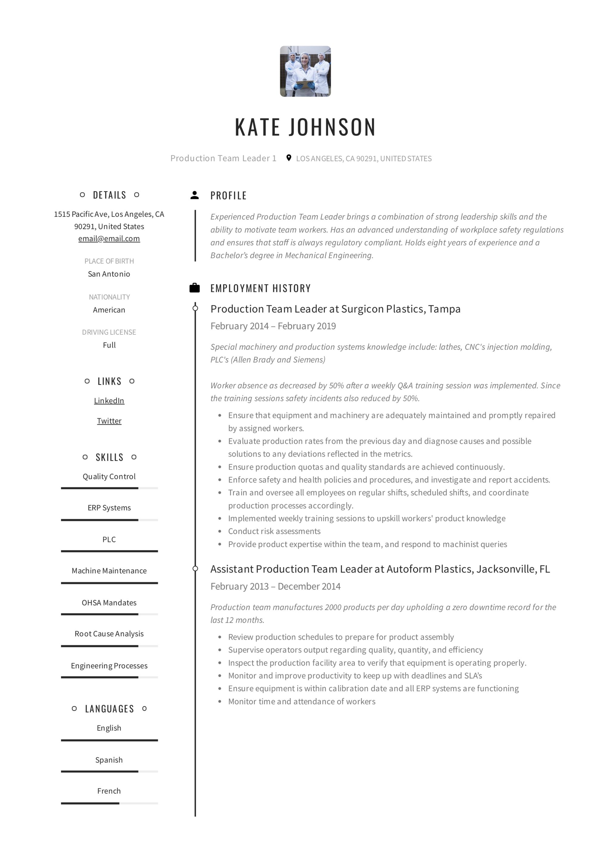 Production Team Leader Resume 2