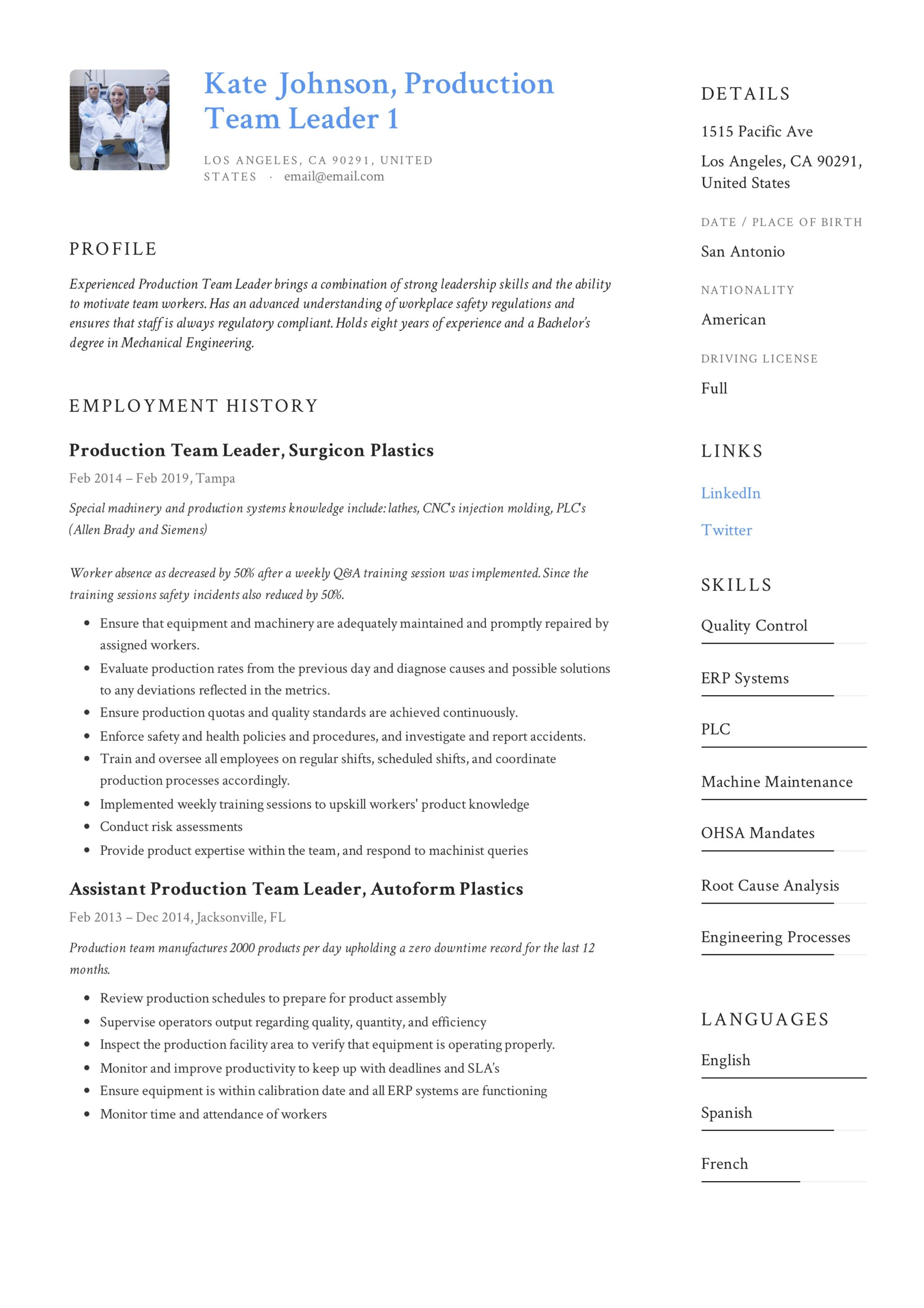 Production Team Leader Resume 6