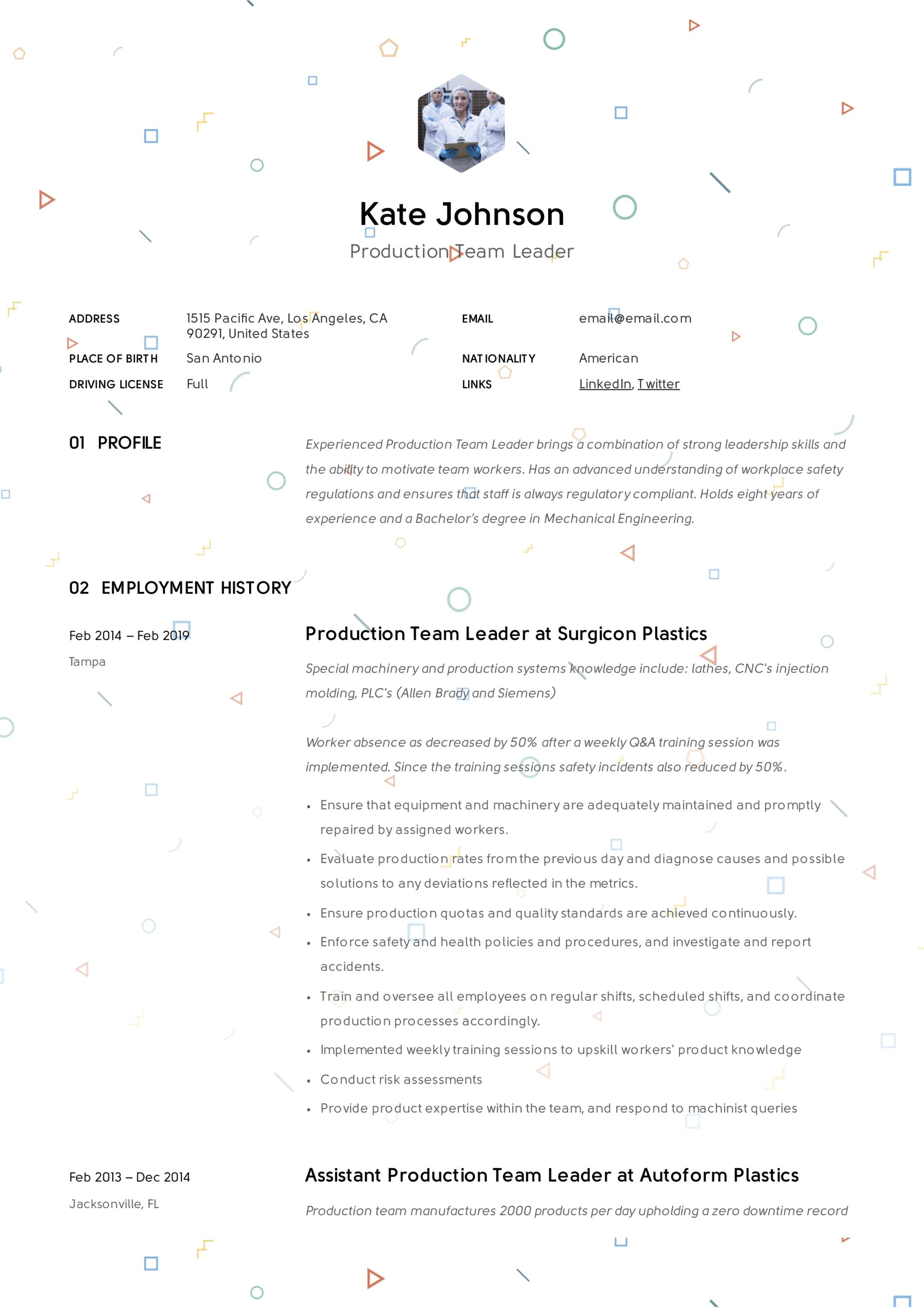 Production Team Leader Resume 7