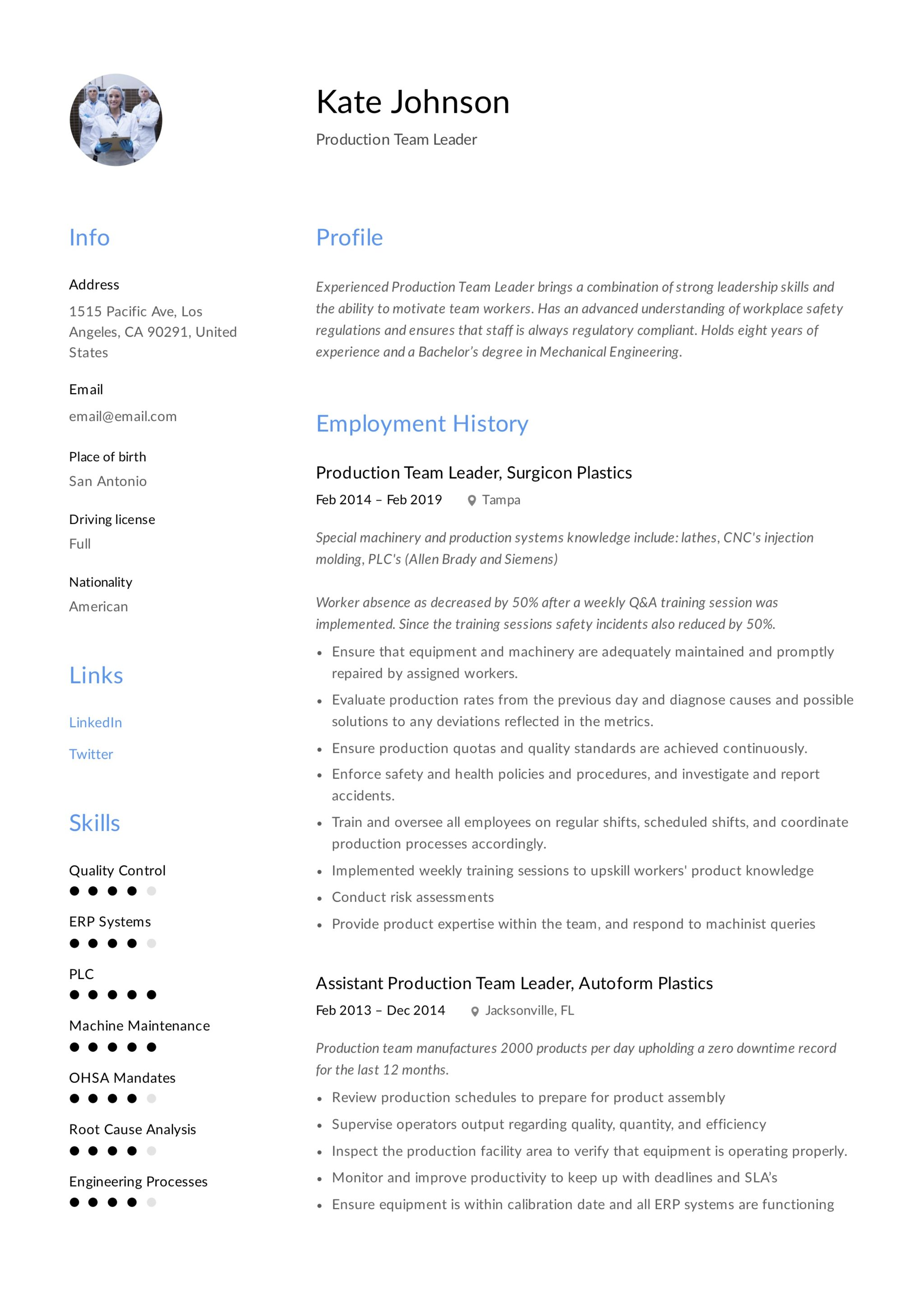 Production Team Leader Resume 8