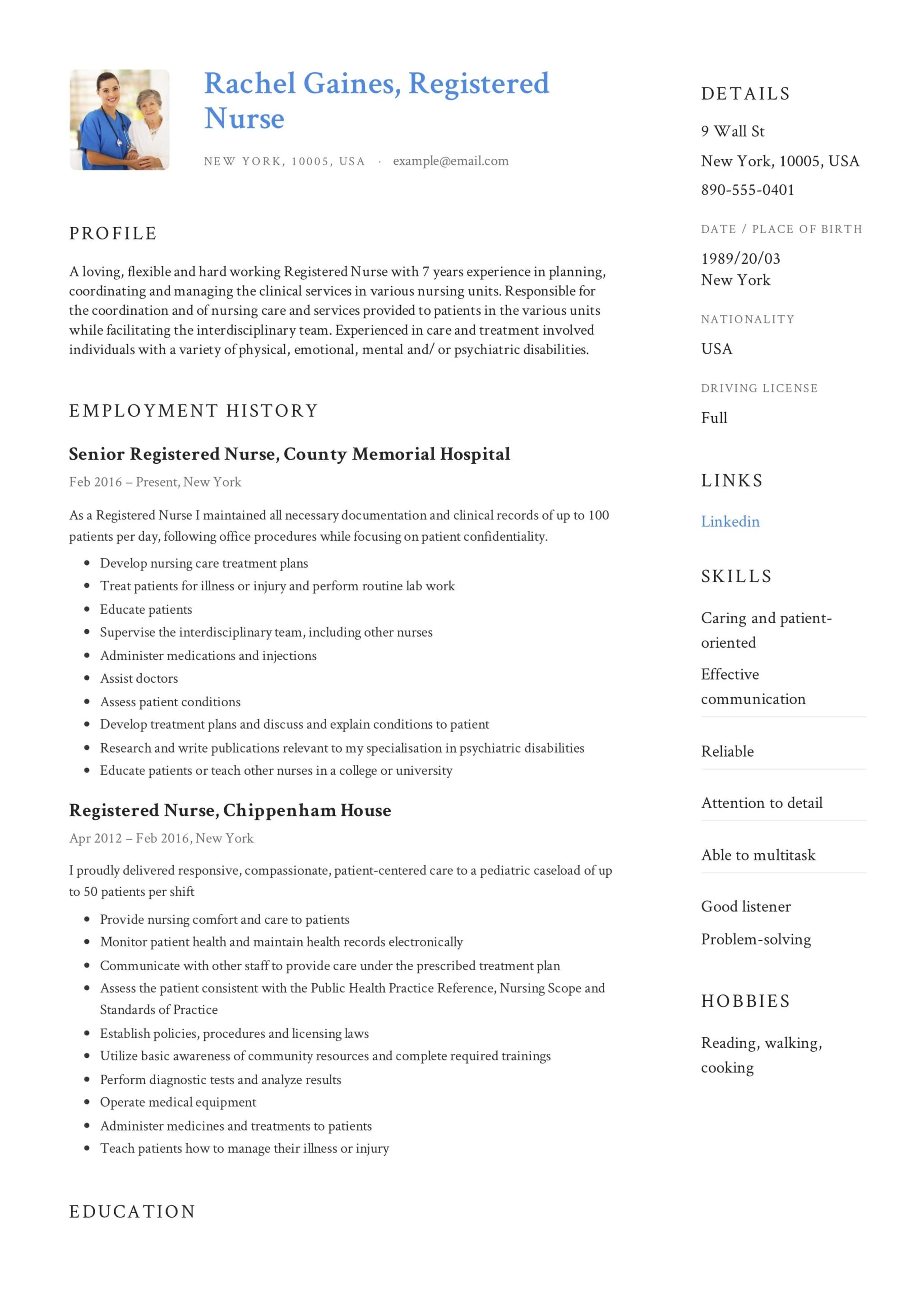 registered nurse resume sample  u0026 writing guide