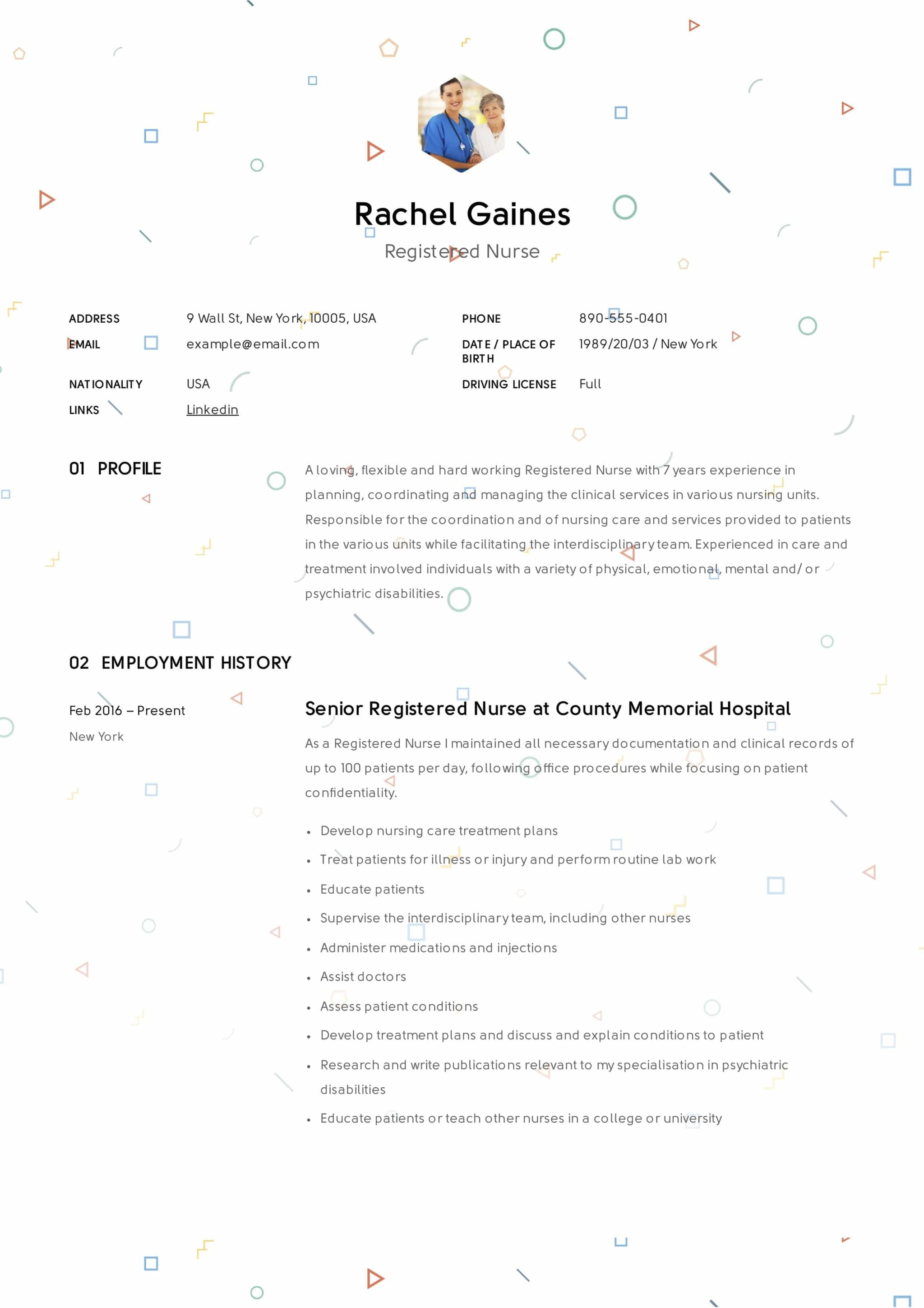 Registered Nurse Resume Example