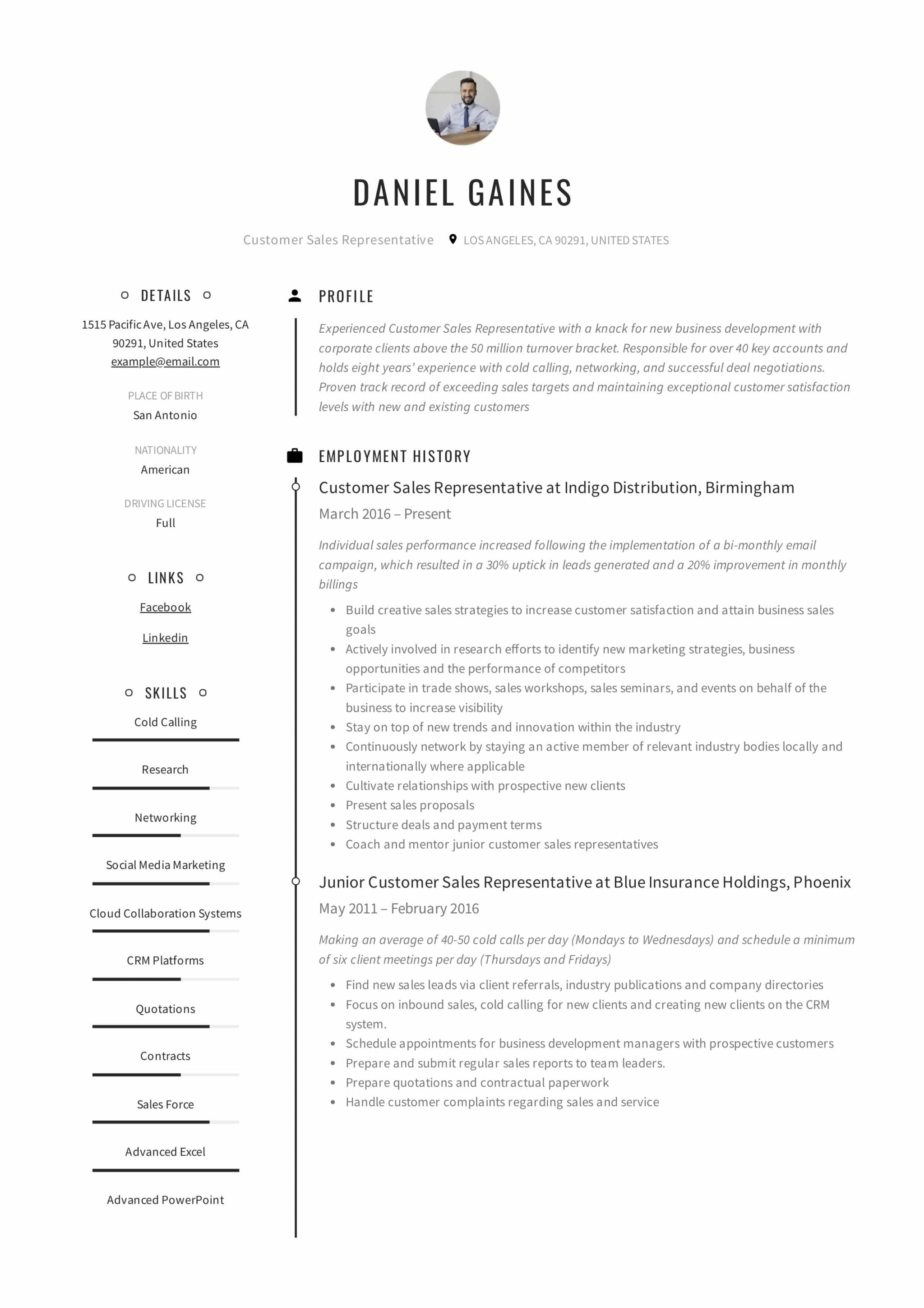 Guide: Customer Sales Representative Resume | +12 Samples ...