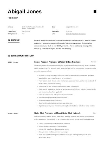 Promoter Resume
