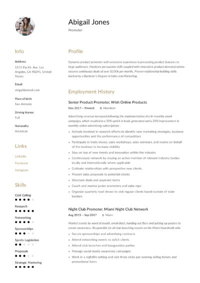 Creative Promoter Resume