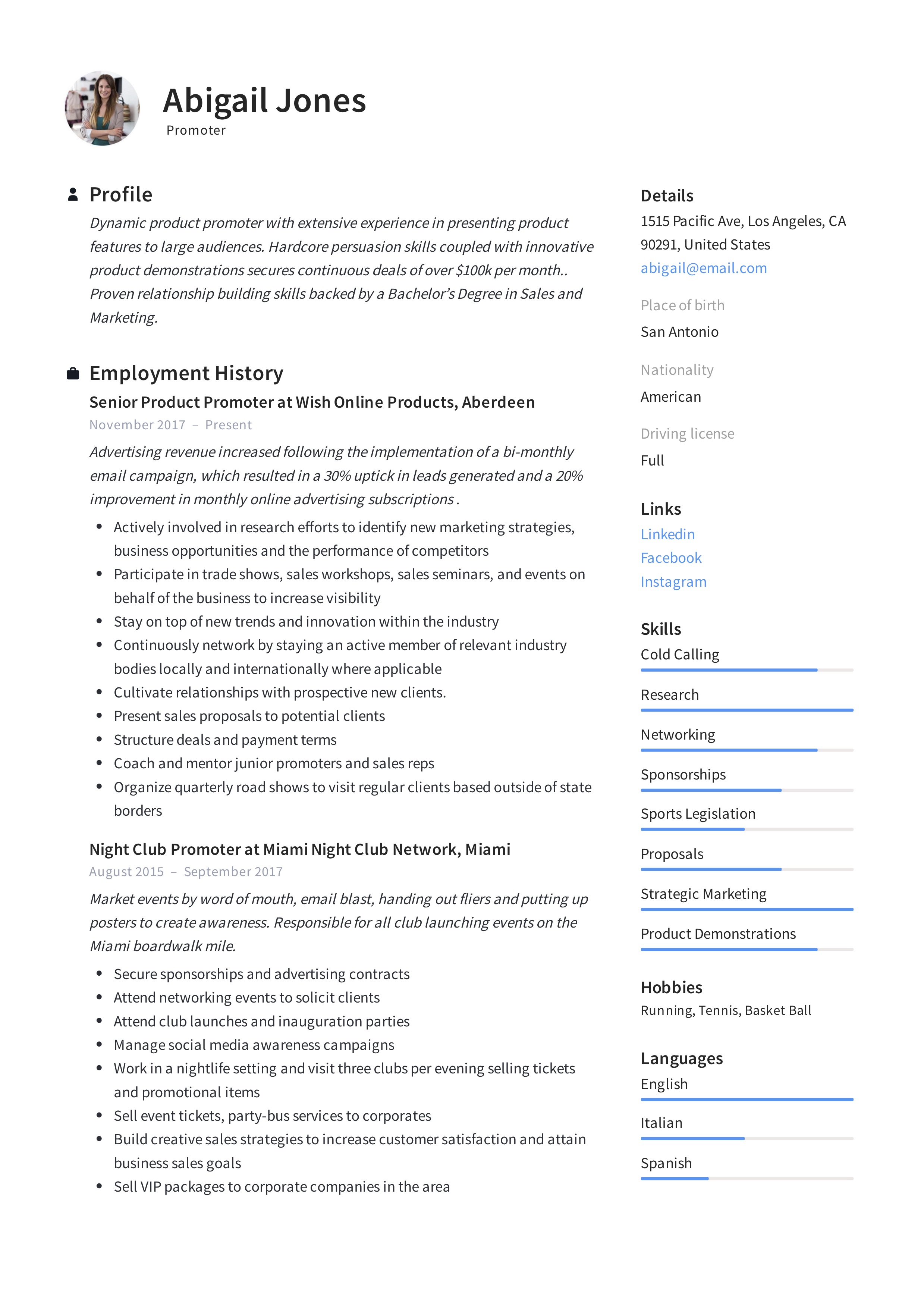 Promoter Resume Example Writing Guide 12 Samples Pdf 2020