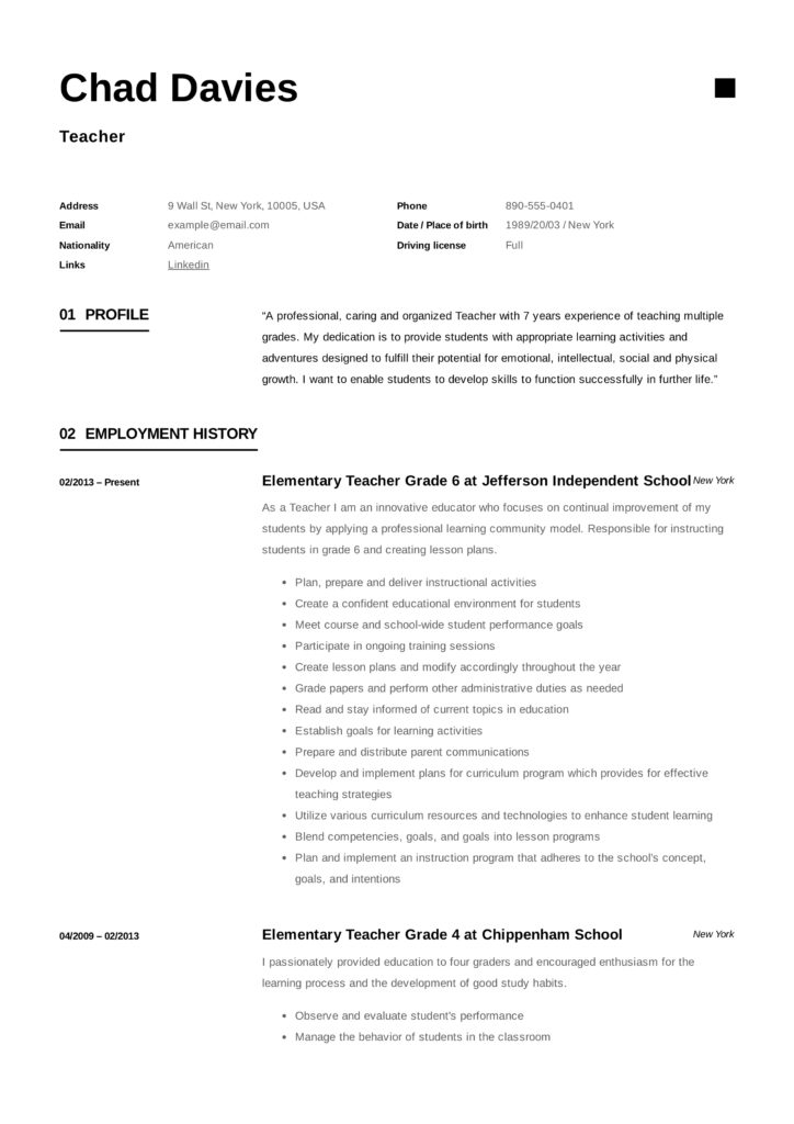Teacher Resume Writing Guide 12 Examples Pdf 2020