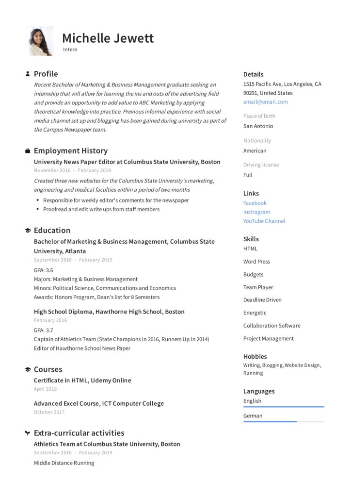 Intern Resume & Writing Guide | + 12 Samples | PDF | 2020