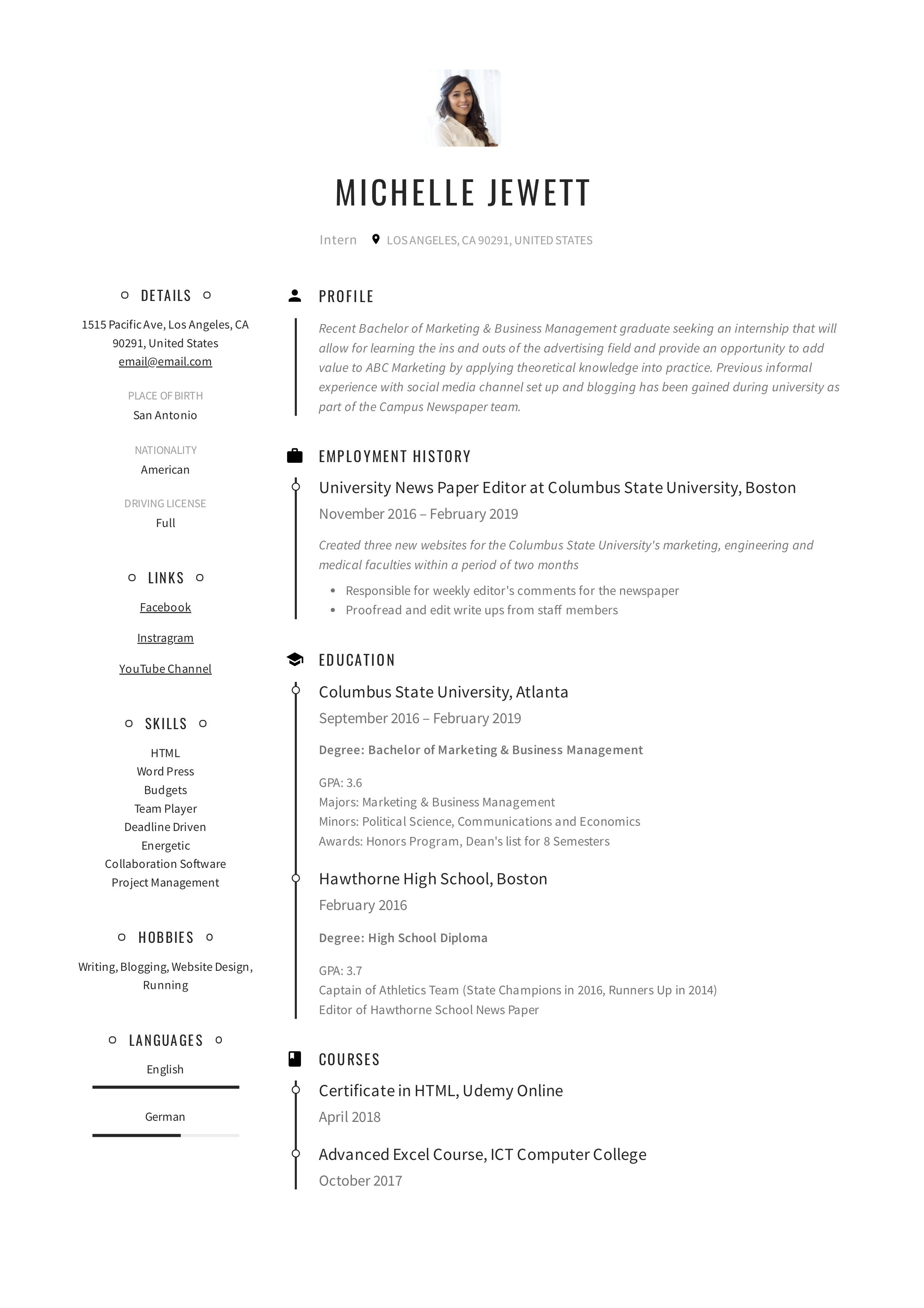 Intern Resume Writing Guide 12 Samples Pdf 2020