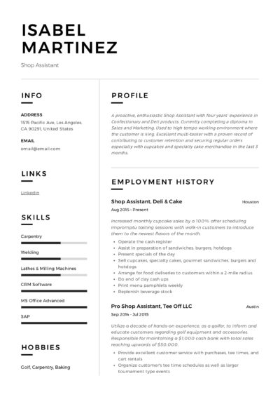 Shop Assistant CV and Resume Example