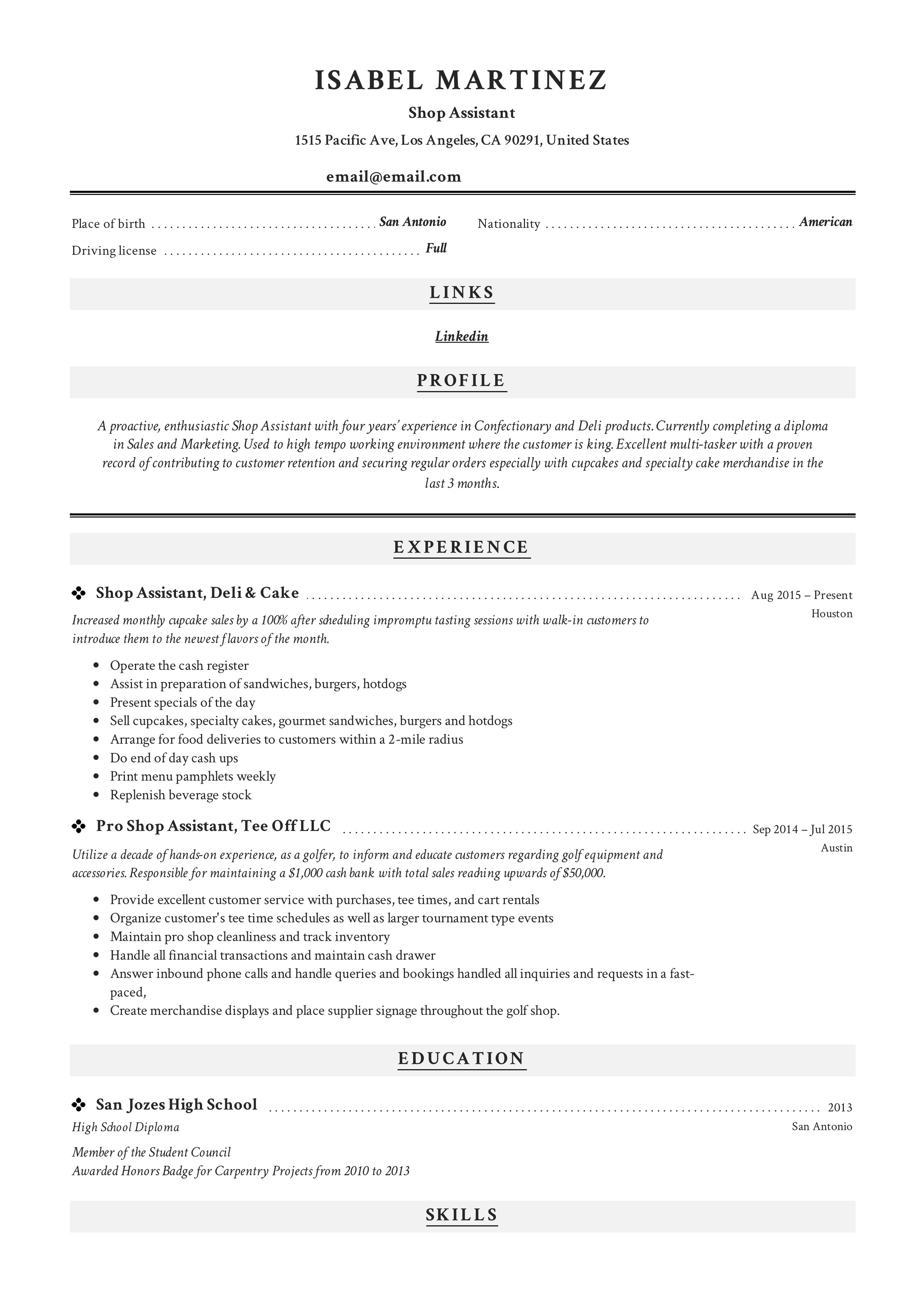 Modern and classic CV for Shop Assistants