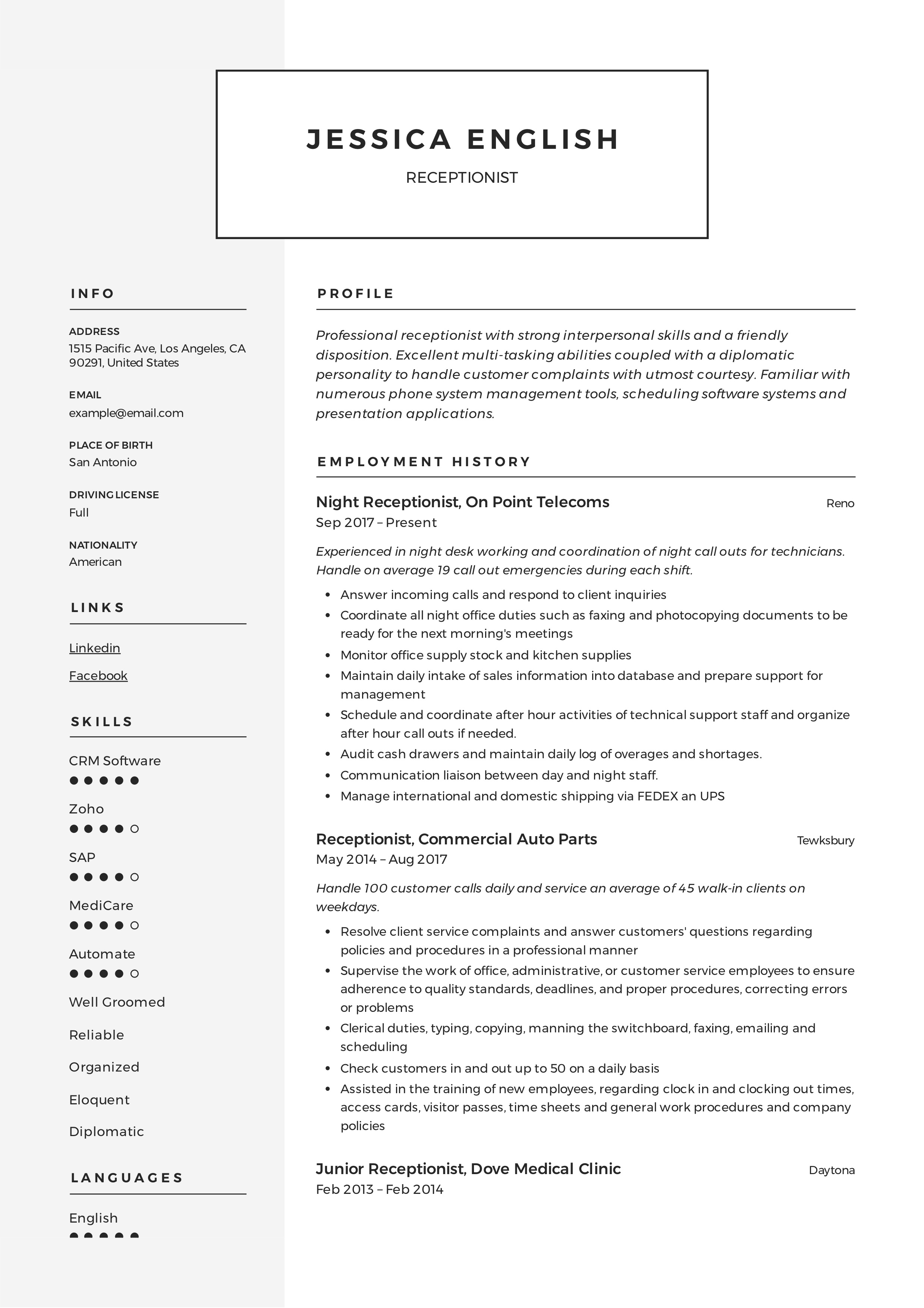 Receptionist Resume Example