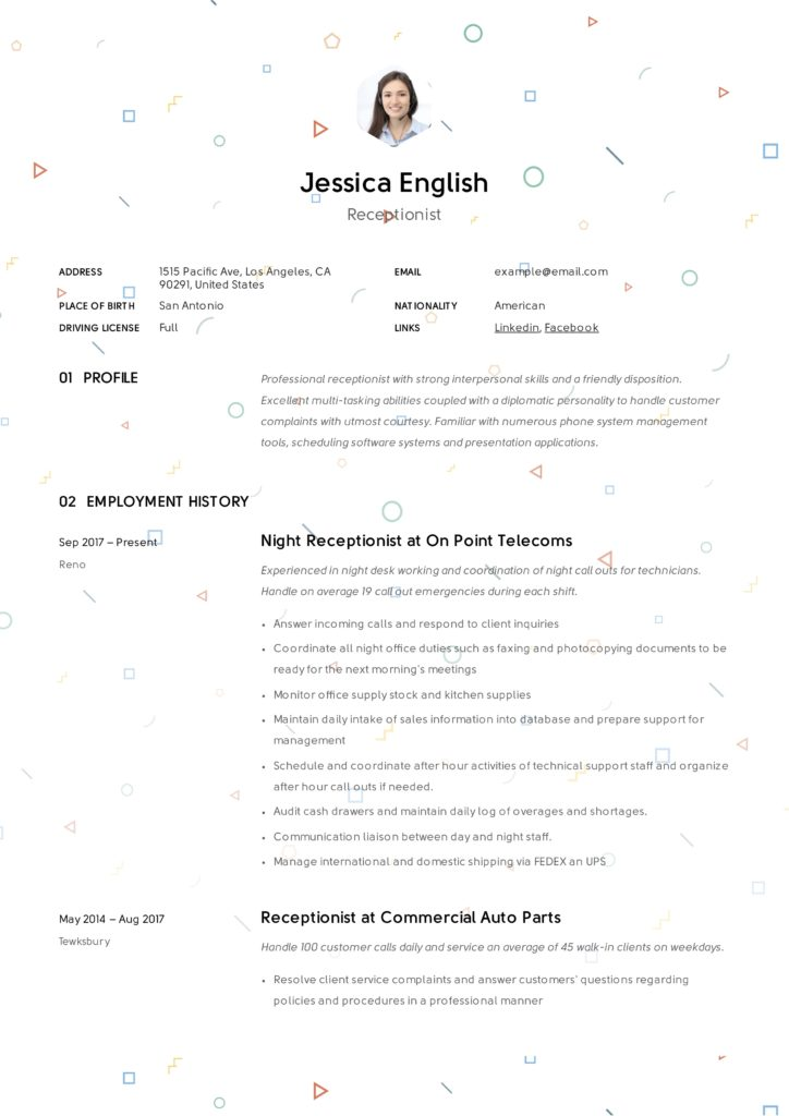 Receptionist Creative Resume Example