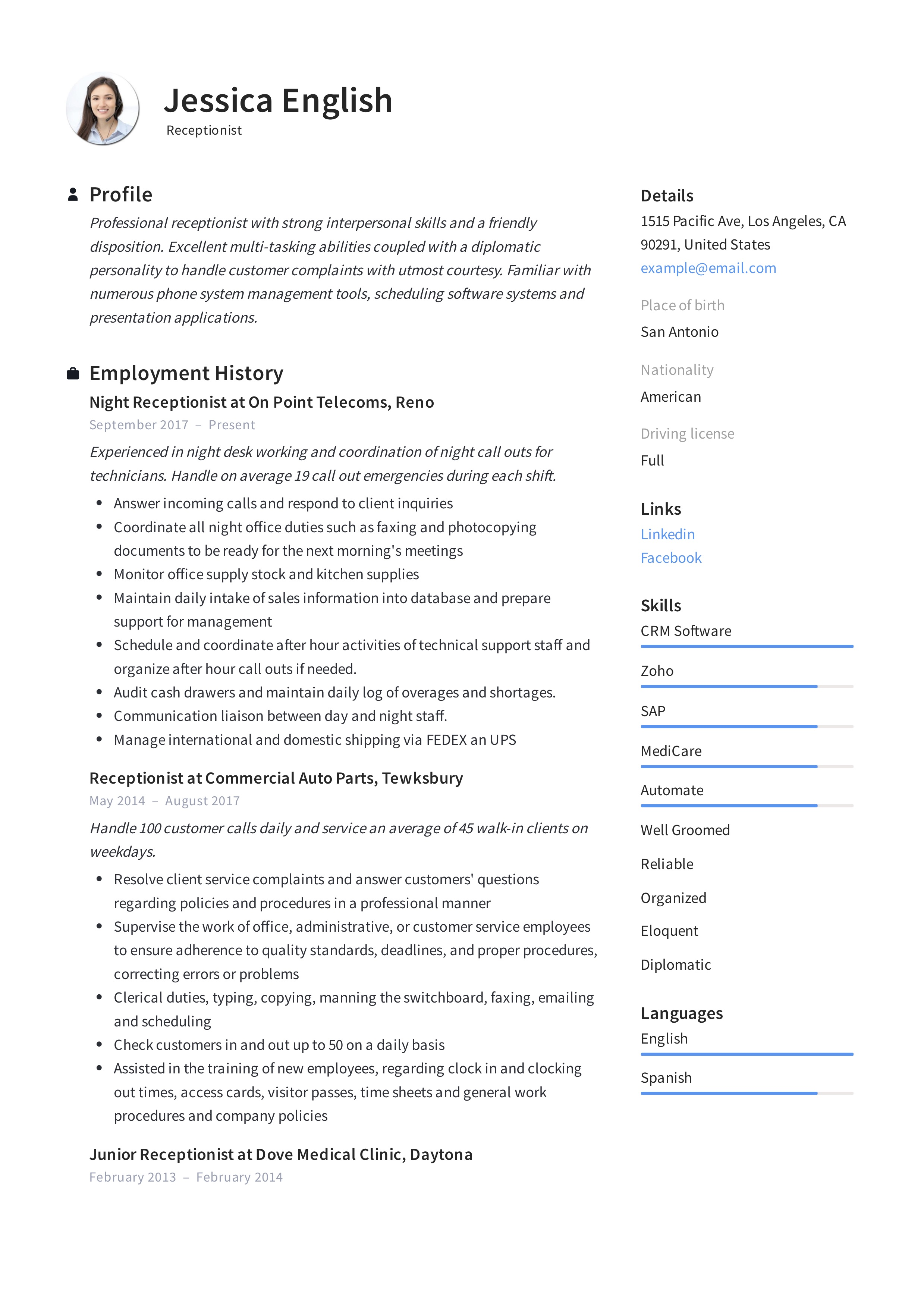 Receptionist Resume Example Writing Guide 12 Samples Pdf 2020