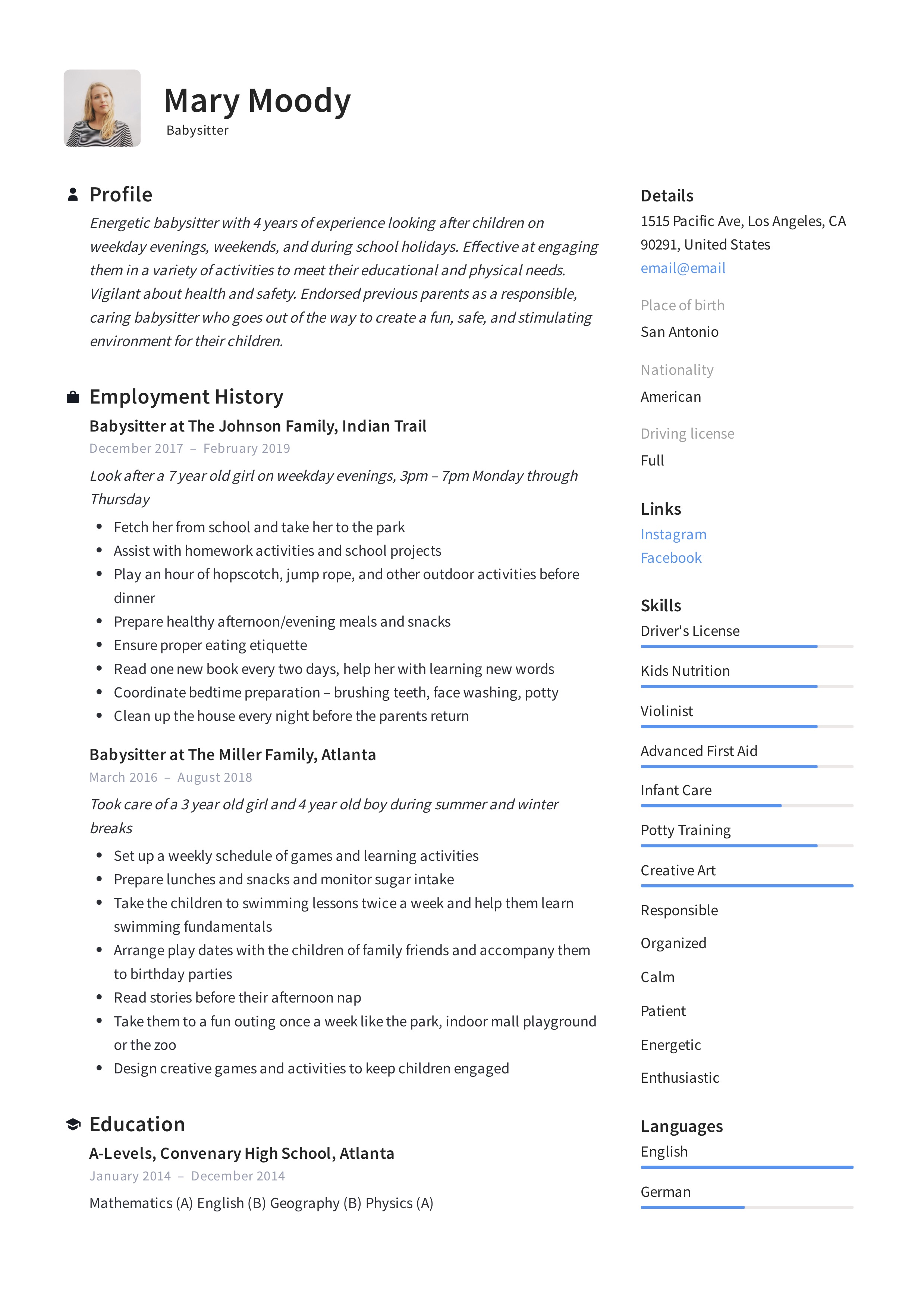 19 Babysitter Resume Examples Writing Guide 2020 Pdf