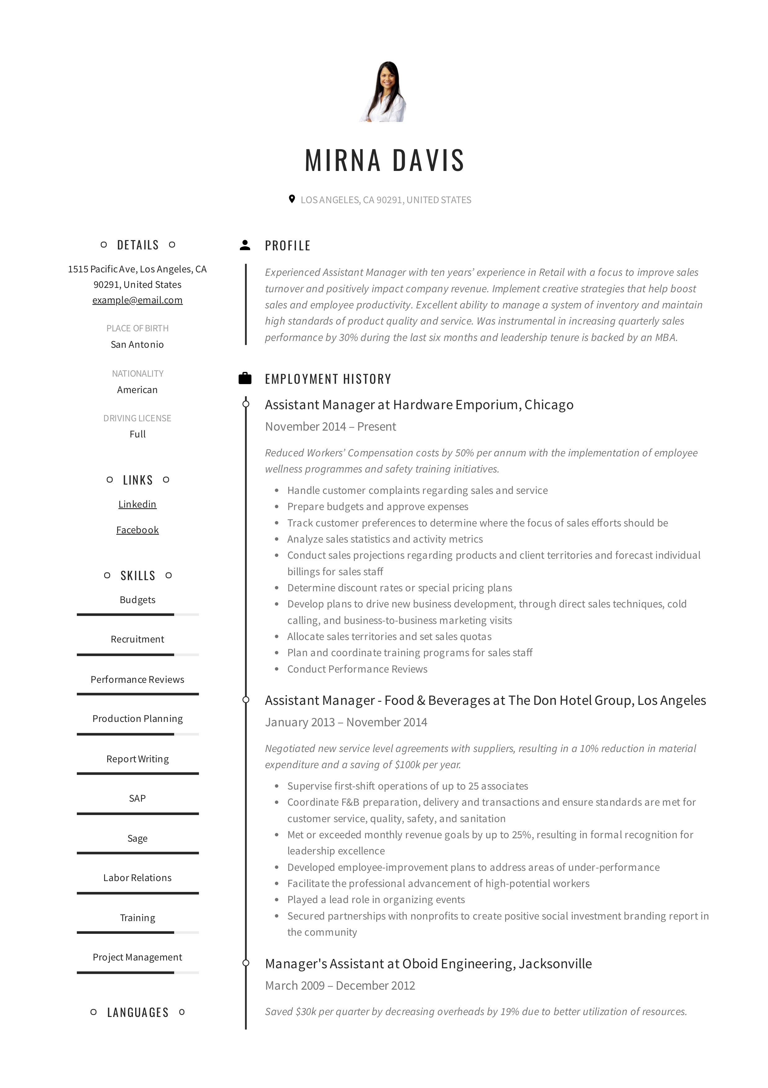 Assistant Manager Resume
