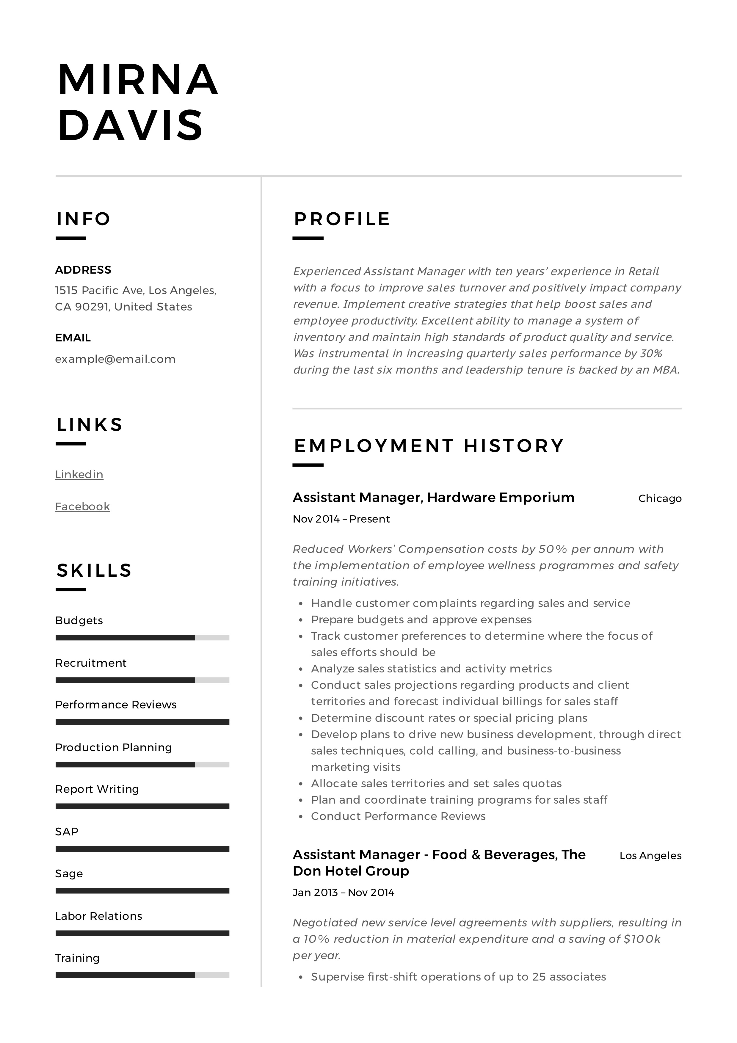 Resume Sample Manager Assistant