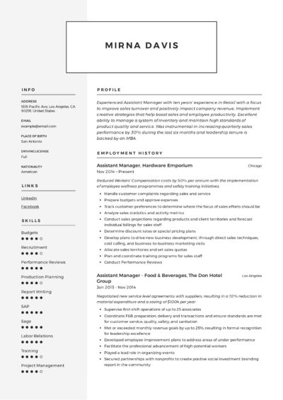 Manager Assistant Resume