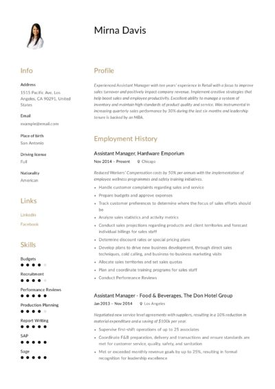 Assistant Manage resume template
