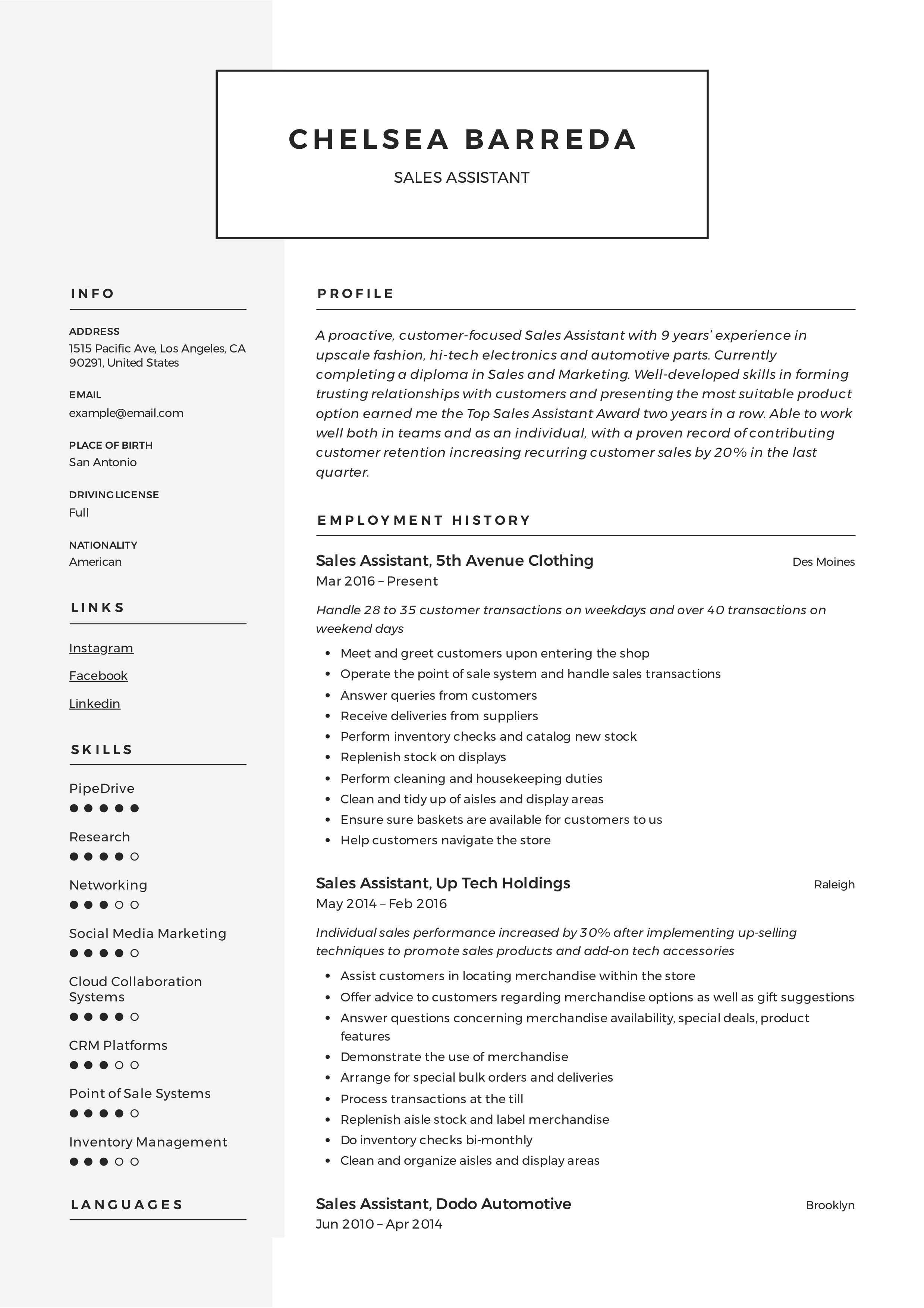 Sales Assistant Resume Amp Writing Guide Resumeviking Com