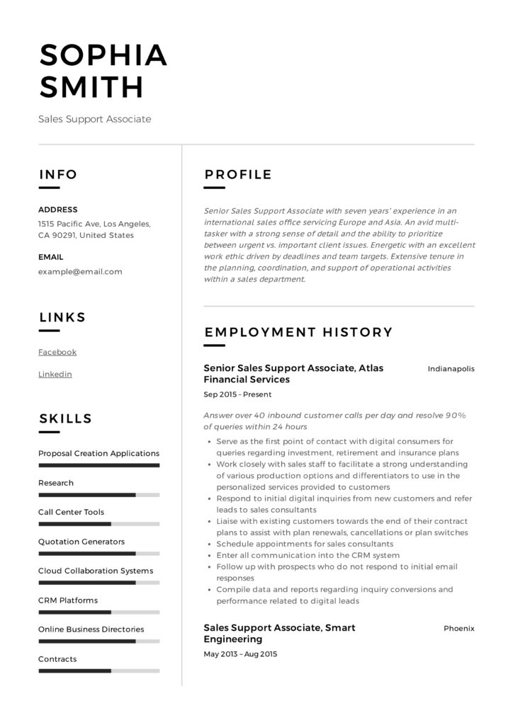 Sales Support Associate Design Resume