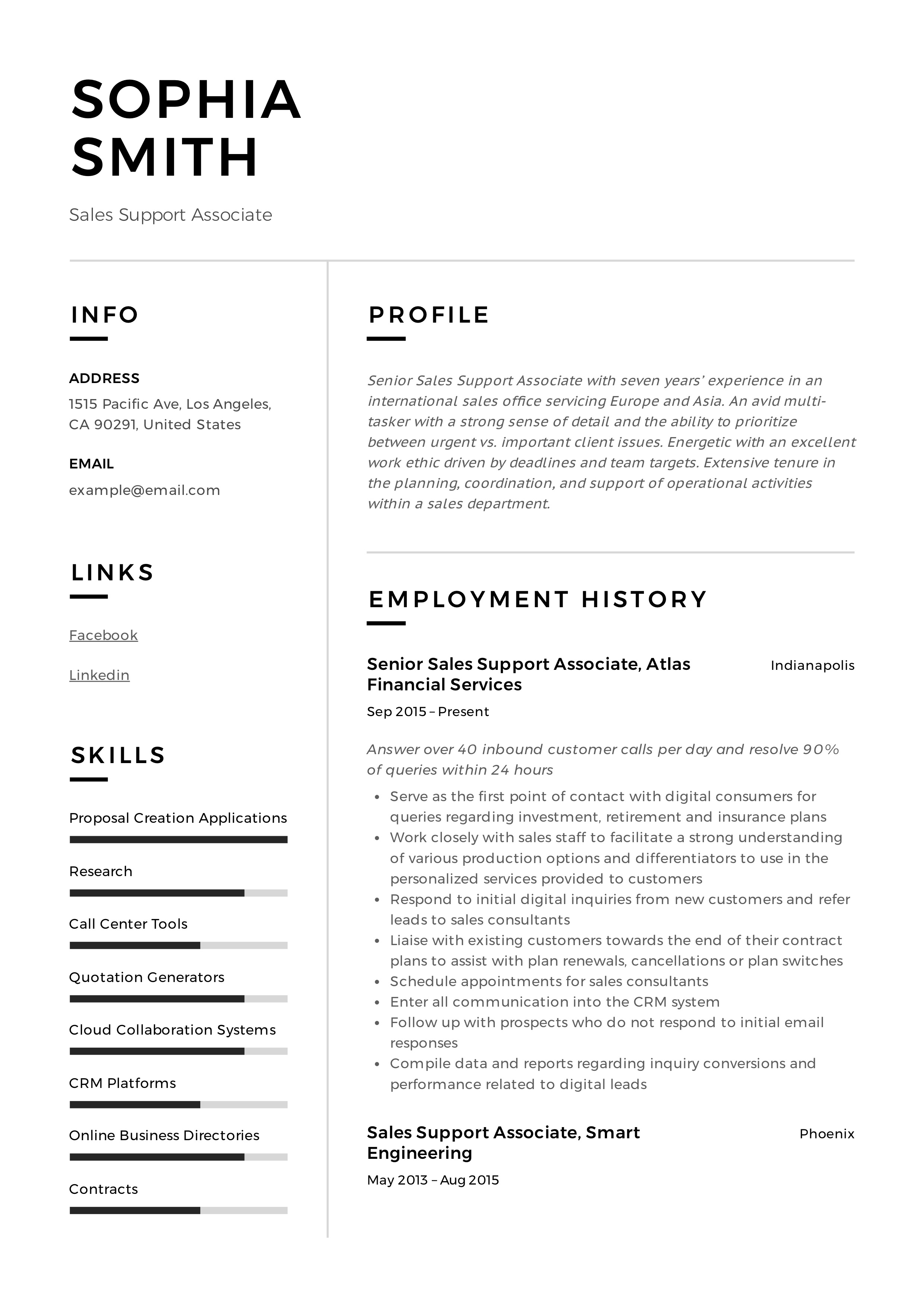 Sales Support Associate Resume
