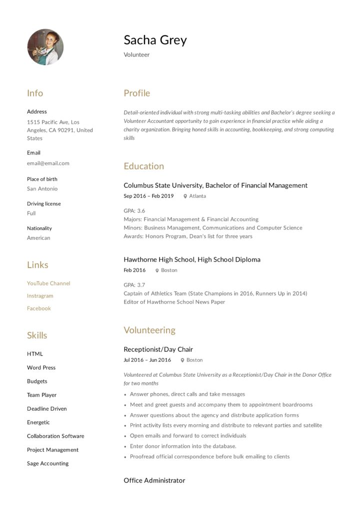 Volunteer Resume with Photo option