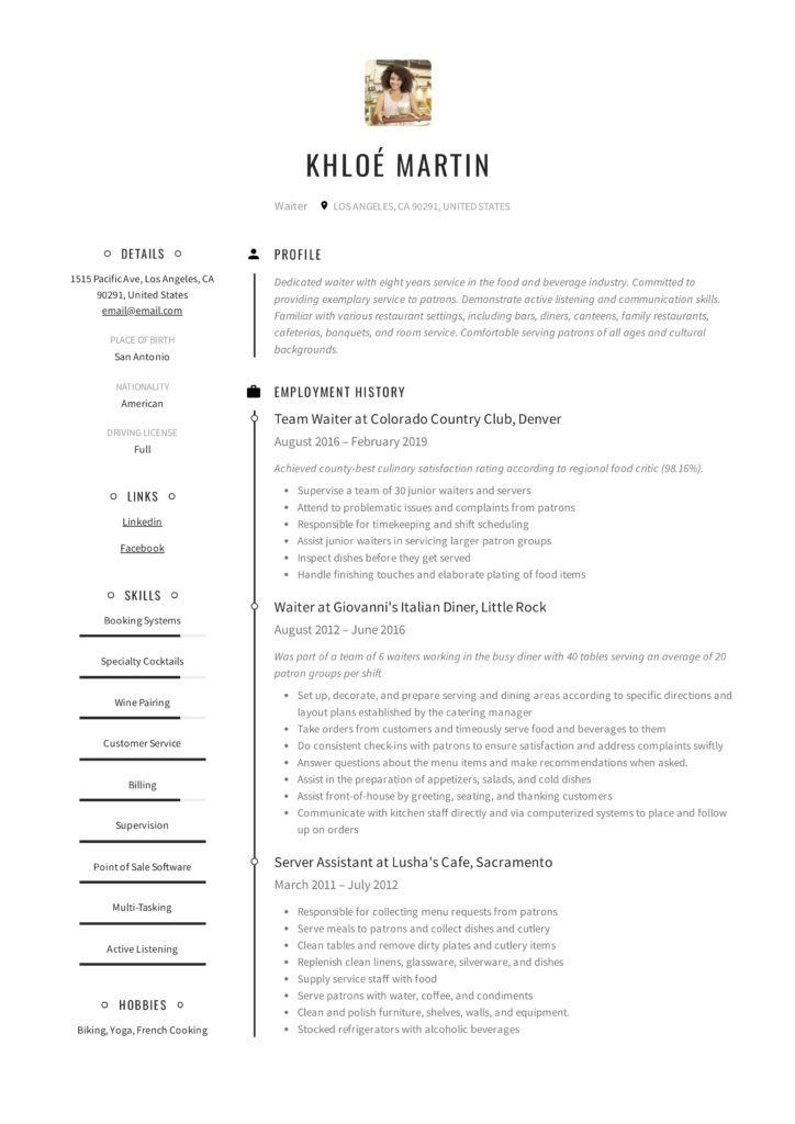 Creative Waiter Resume Example
