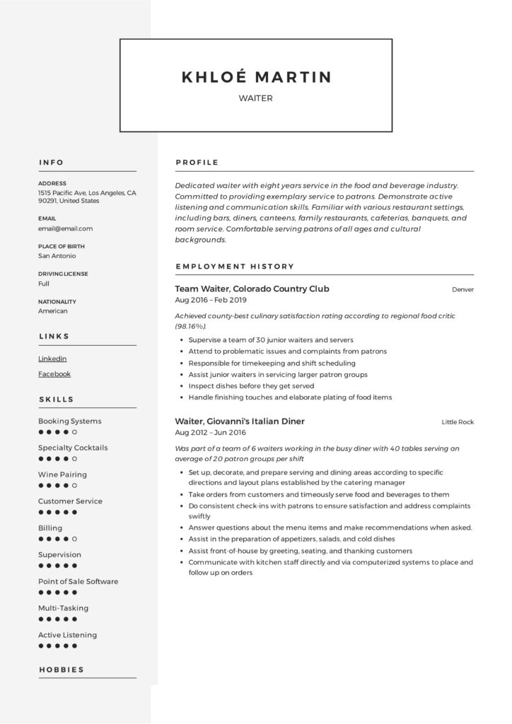 Modern Waiter Resume Example