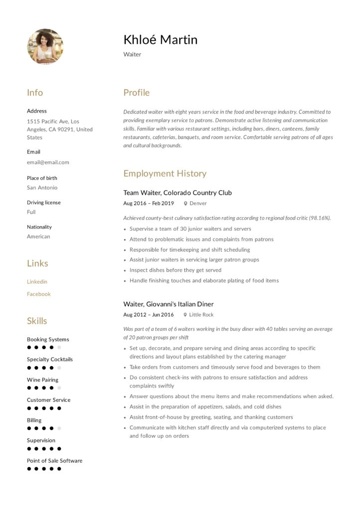 Minimalist Waiter Resume Example