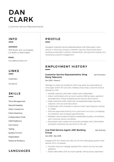 Customer Service Representative Modern Resume