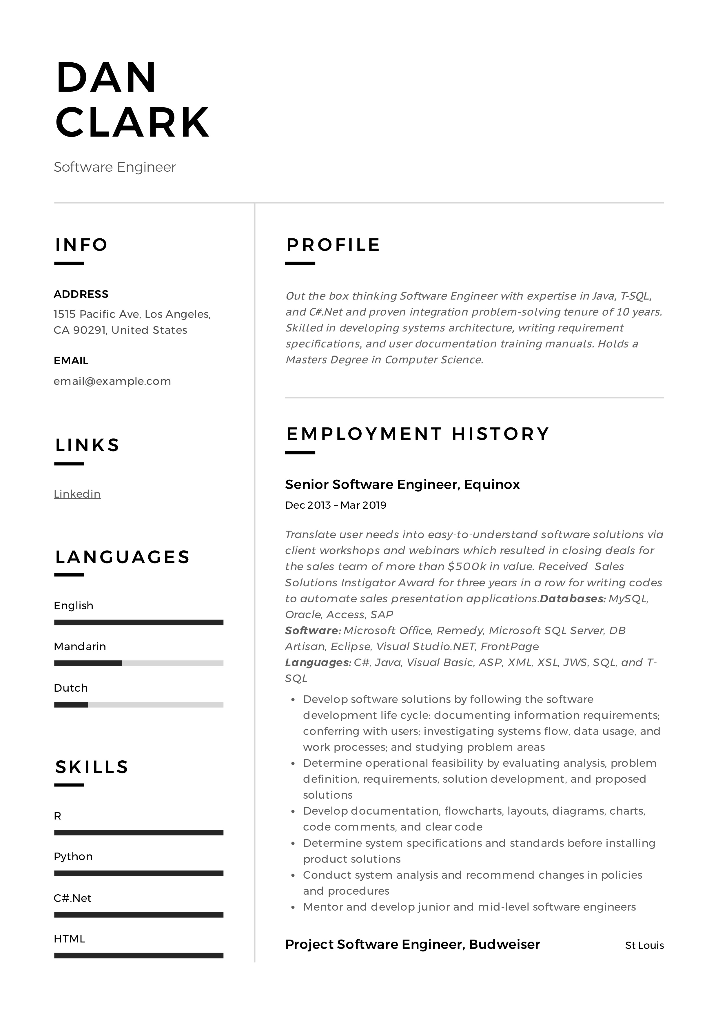 Software Engineer Resume Writing Guide 12 Samples Pdf 2020