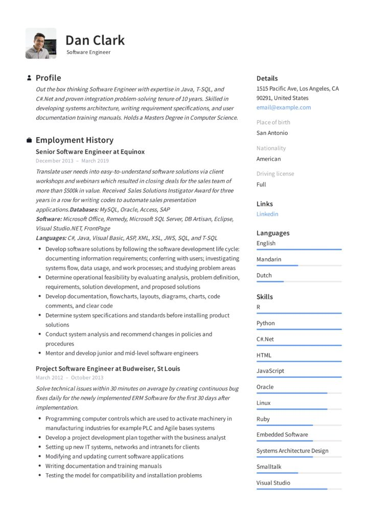 Dan_Clark_-_Resume_-__Engineer-724x1024 Computer Information Systems Supervisor Resume Sample on manufacturing production, ups operation, construction field, inventory control, for experienced, security guard,