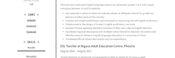 19 Esl Teacher Resume Examples Writing Guide 2020