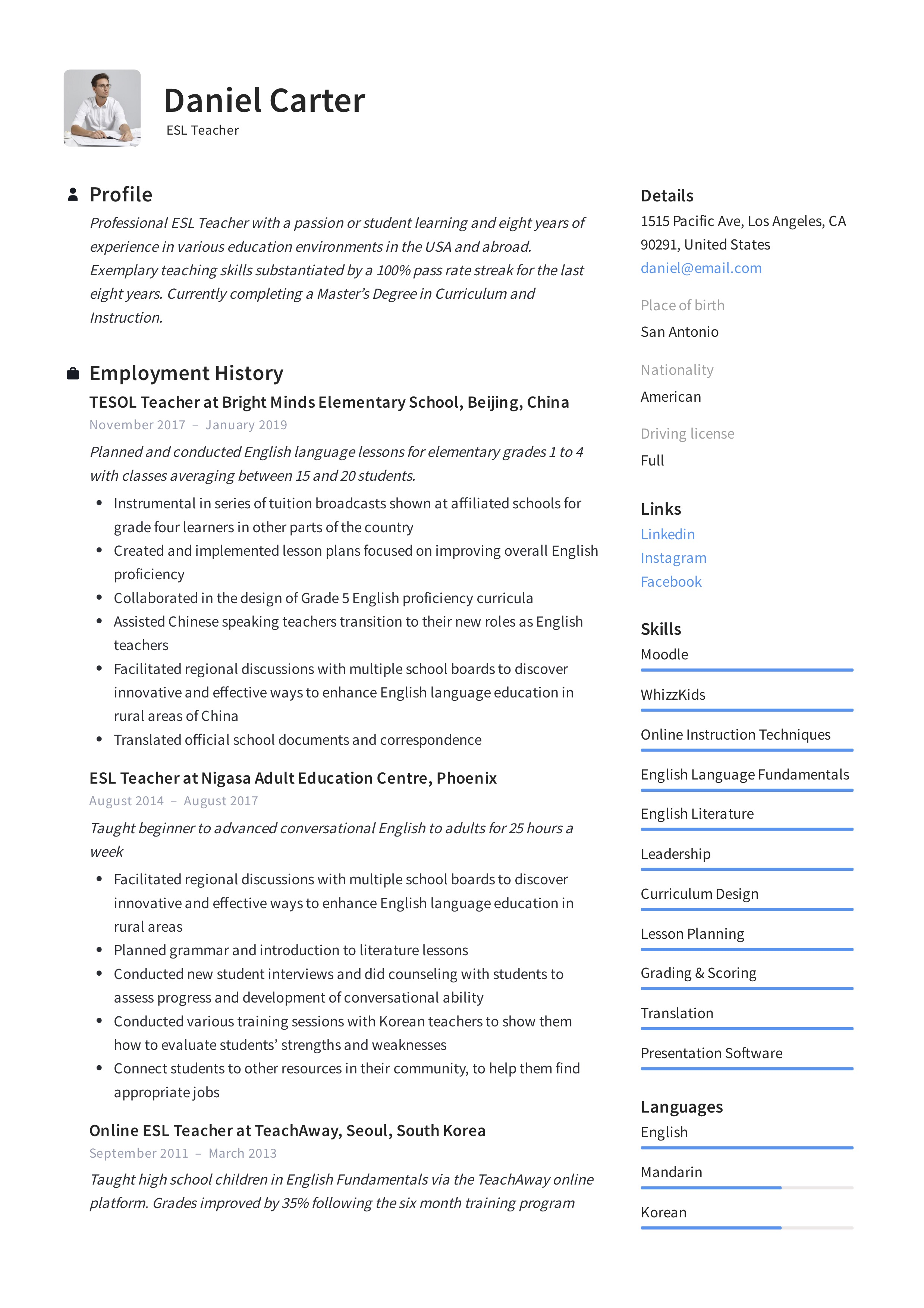 ESL Teacher Resume & Writing Guide +12 Free Templates | 2020