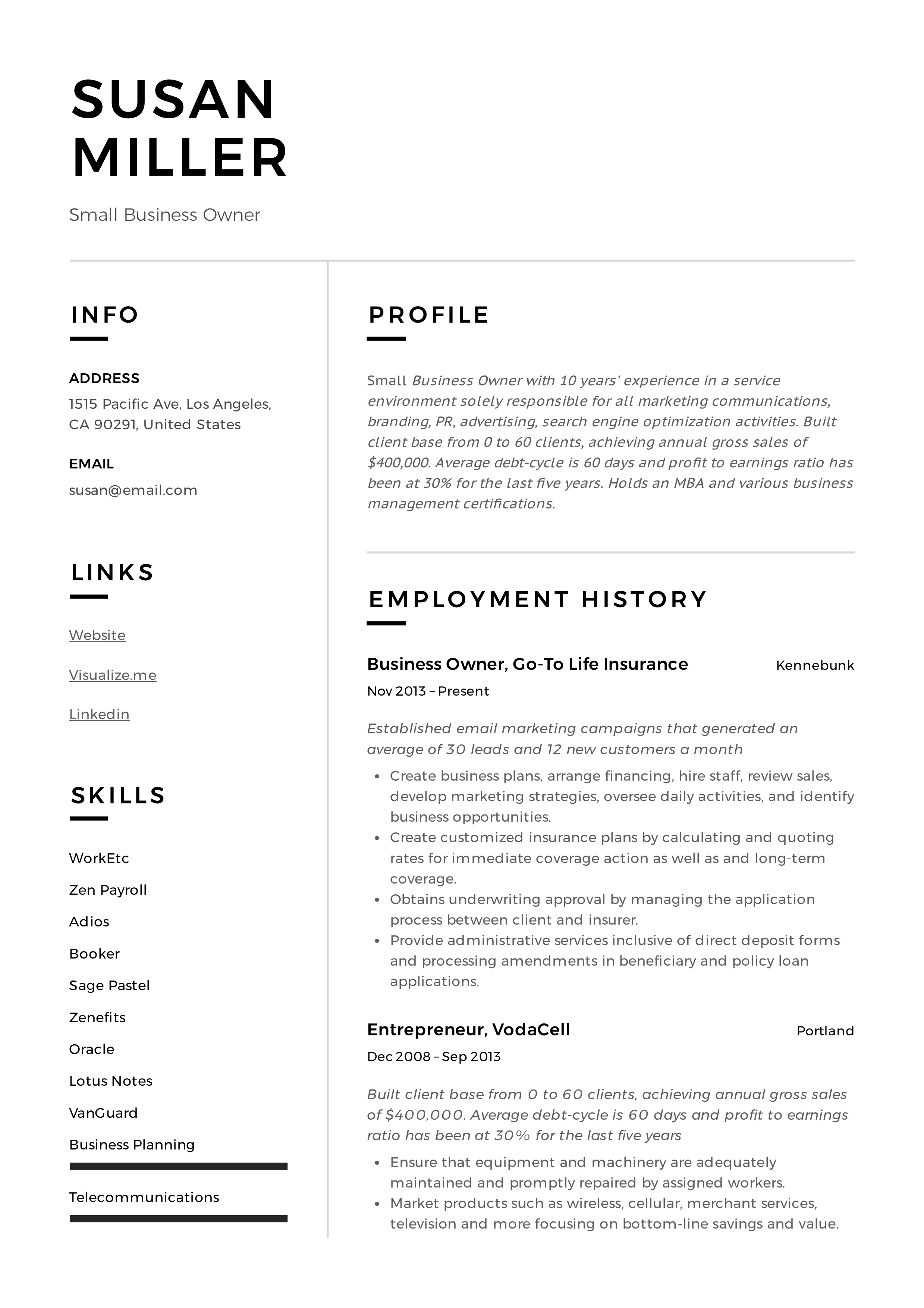 Small Business Owner Resume Guide 19 Examples Pdf 2020