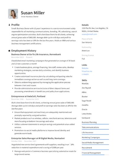 Small Business Owner Resume Example
