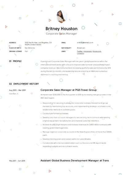 Creative Resume Corporate Sales Manager