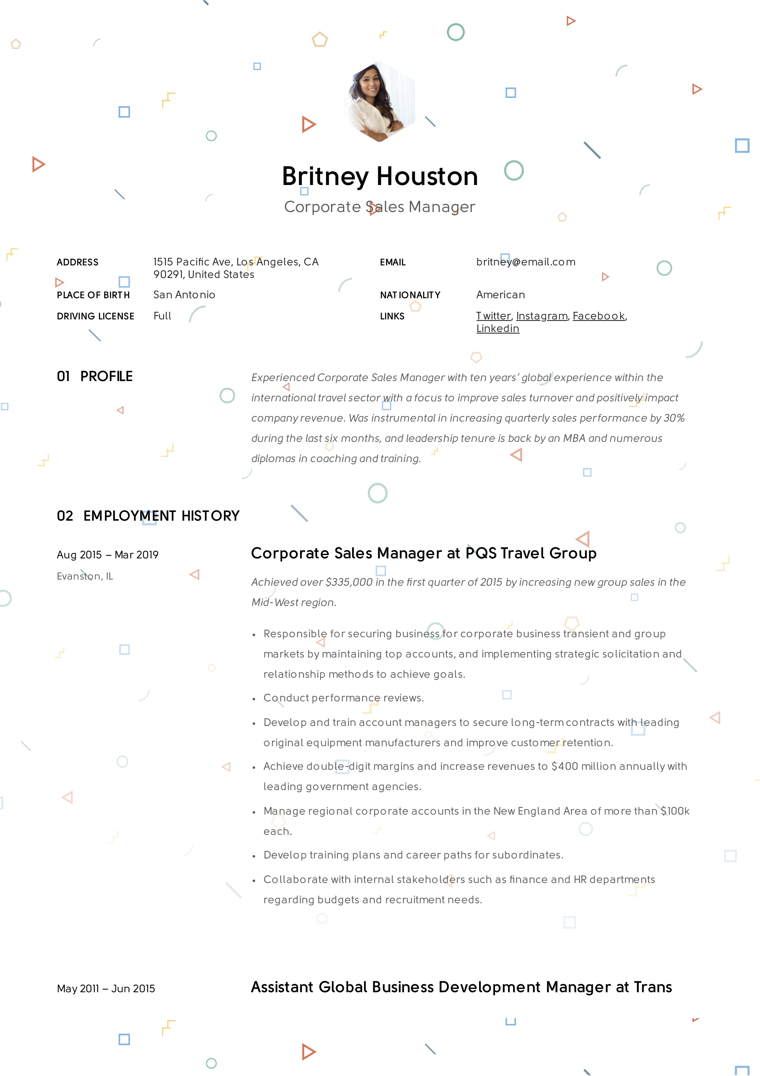 Creative Corporate Sales Manager Resume