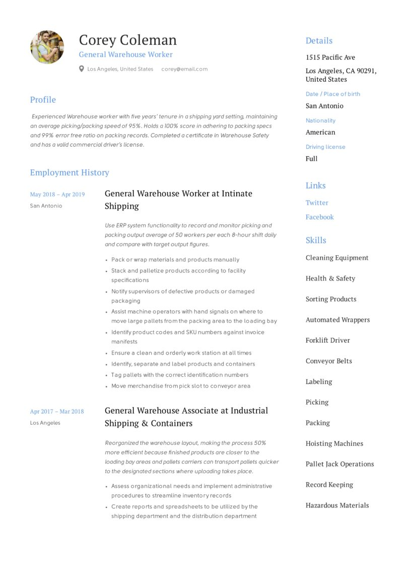 general warehouse worker resume guide  12 resume templates