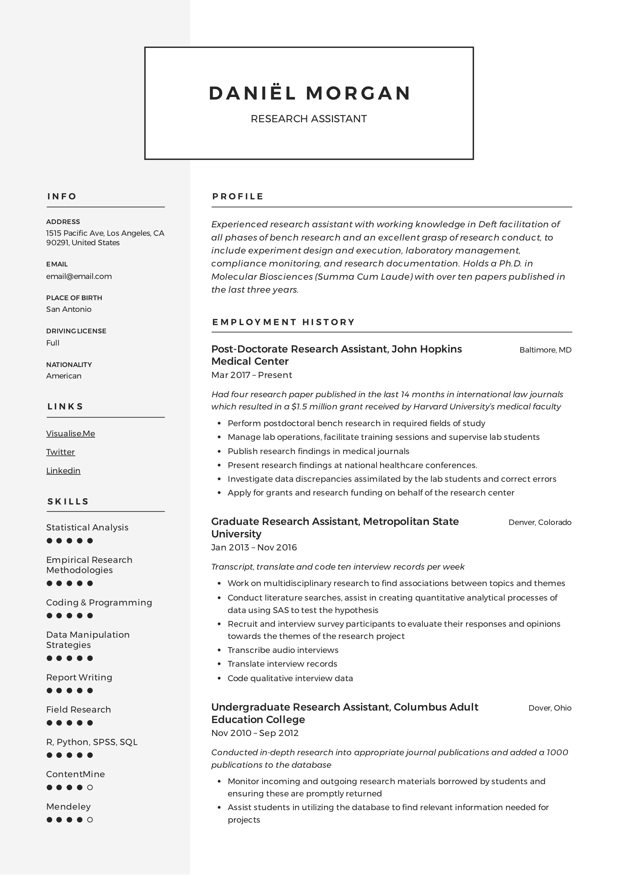 Research Assistant Resume Writing Guide 12 Resume Examples