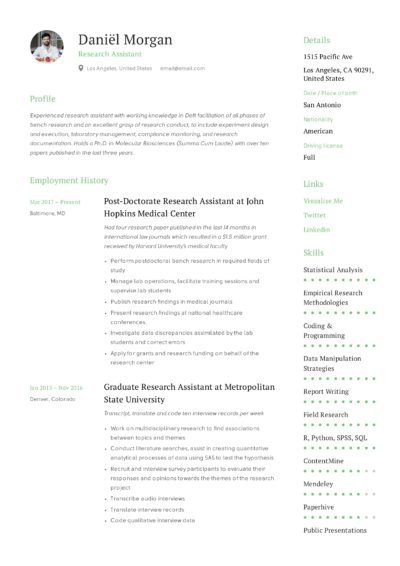 Research Assistant Sample Resume
