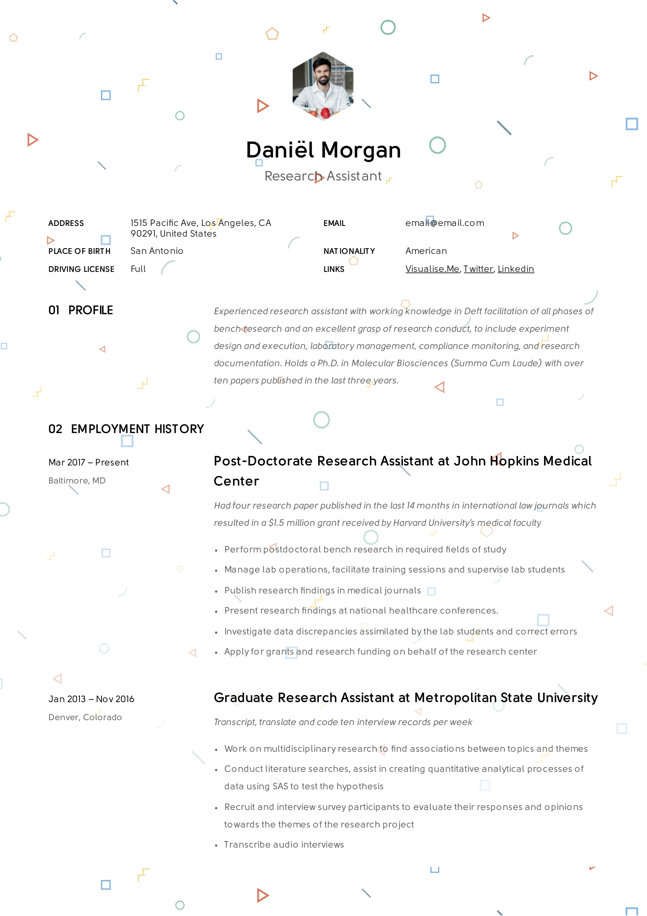 Research Assistant Creative Resume