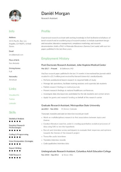 Research Assistant Resume
